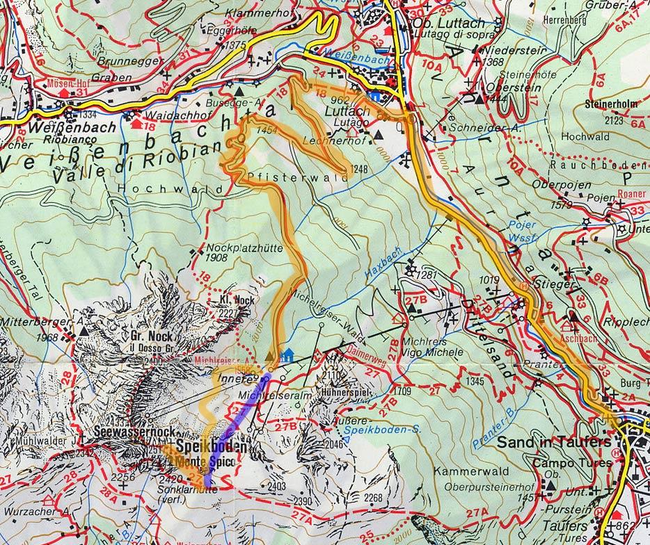 Valle Aurina Cartina Geografica.Cartina Salita In Mountain Bike Al Monte Spicco Speikboden