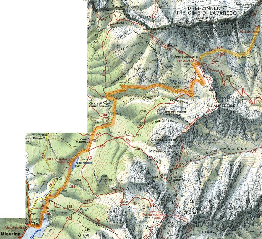 Cartina 3 Cime Di Lavaredo.Cartina Della Salita Con Bicicletta Alle Tre Cime Di Lavaredo