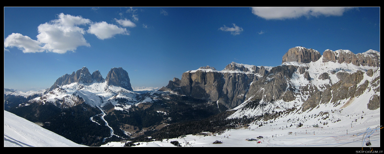 Immagine Panoramica Dal Belvedere Di Canazei  Sassolugno E