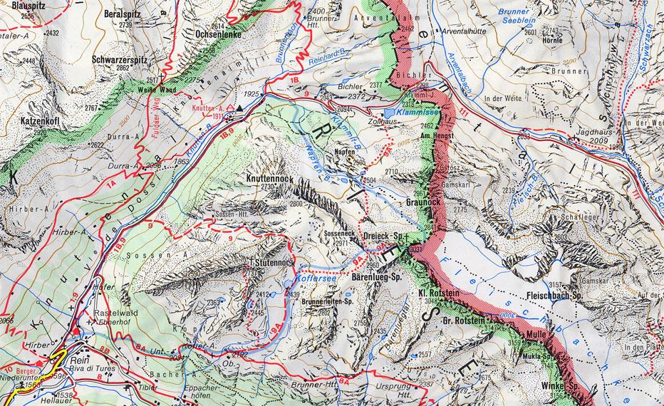 Valle Aurina Cartina Geografica.Mappa Sentiero Per Il Passo Di Gola In Mountain Bike