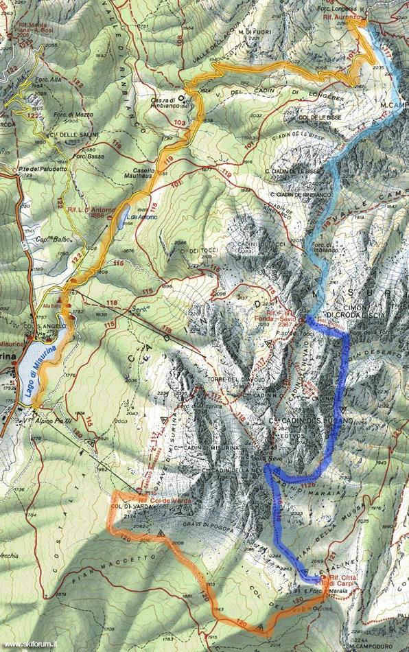 immagine cartina del sentiero Durissini sui Cadini