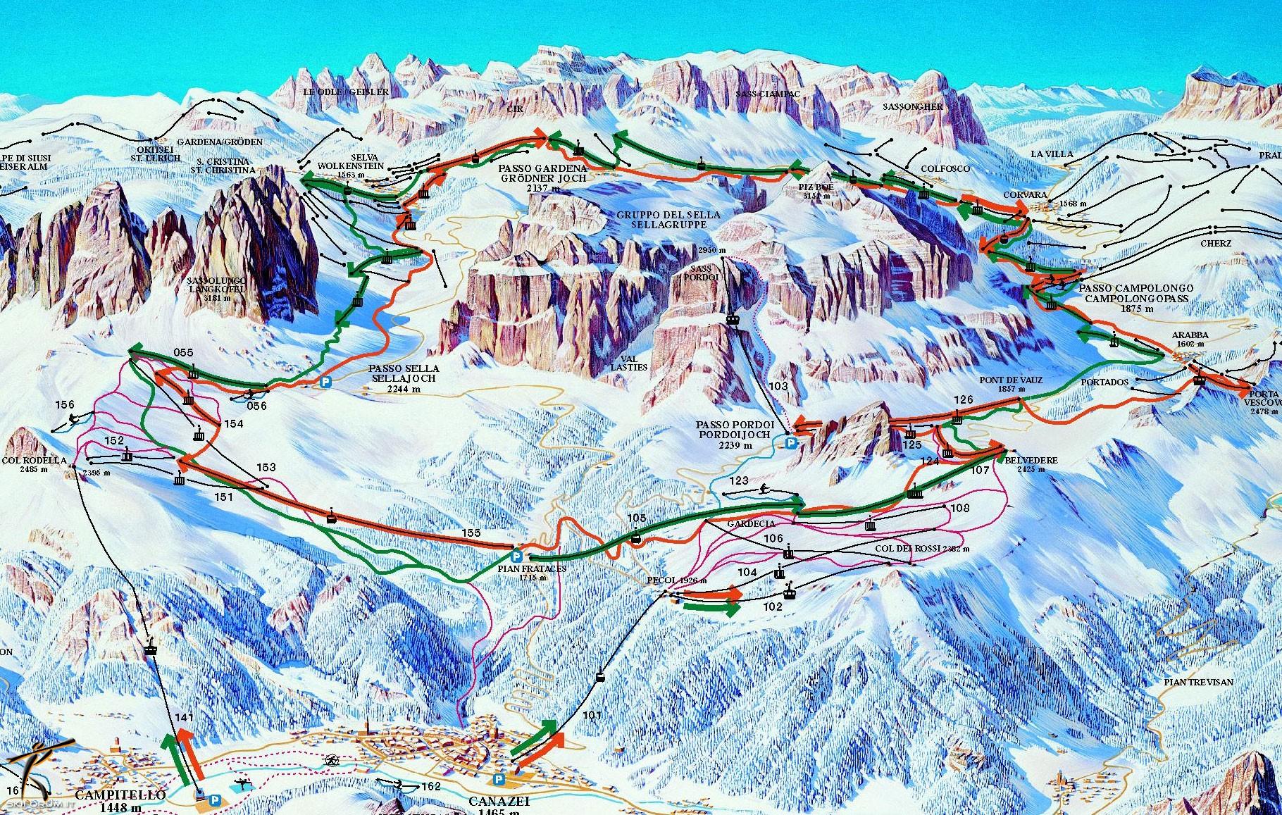 Cartina Dolomiti Superski.Dolomiti Superski Sellaronda Skimap Skimaps