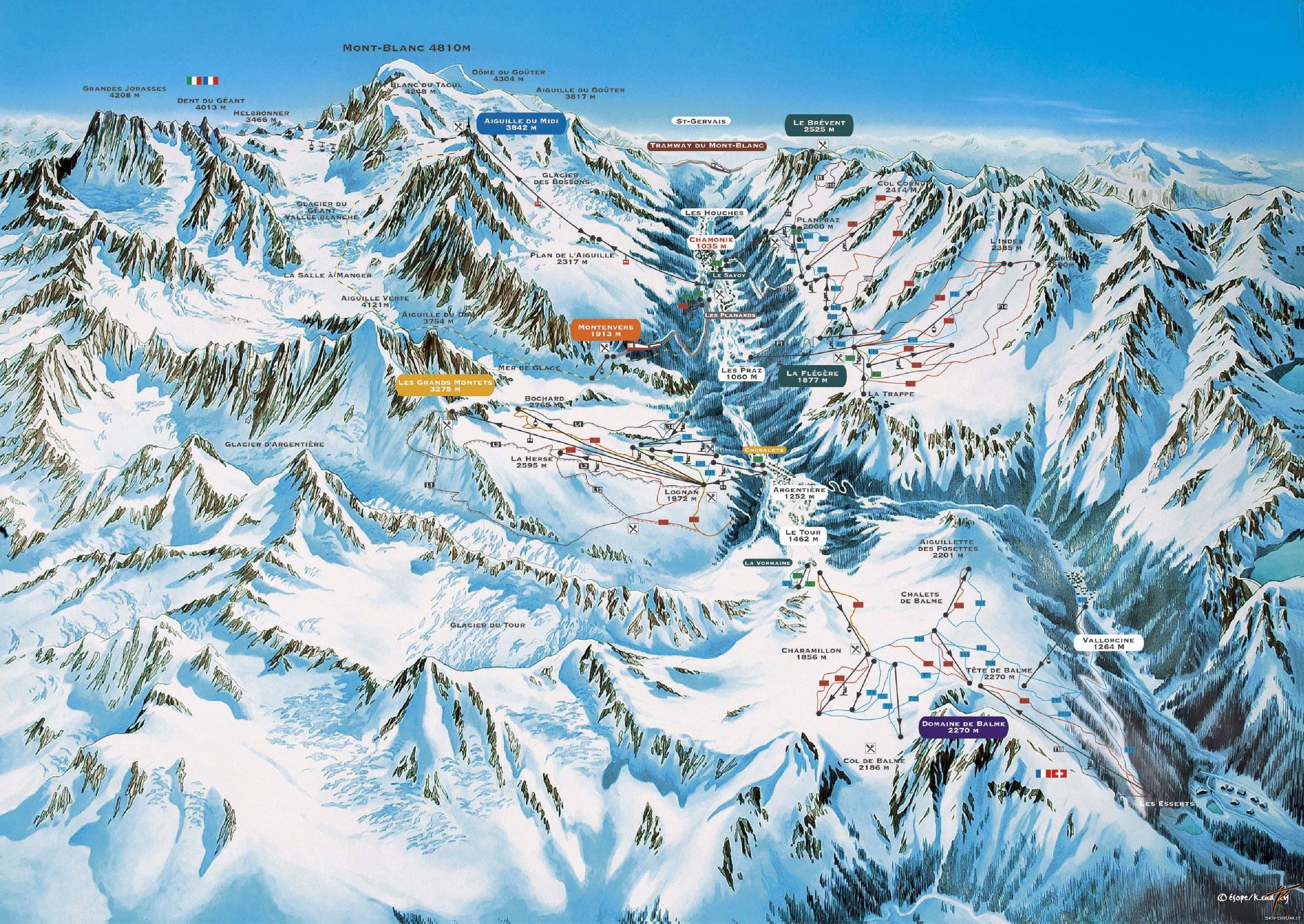 Chamonix Cartina Geografica.Skimap Con Piste E Impianti Del Comprensorio Chamonix Mont Blanc