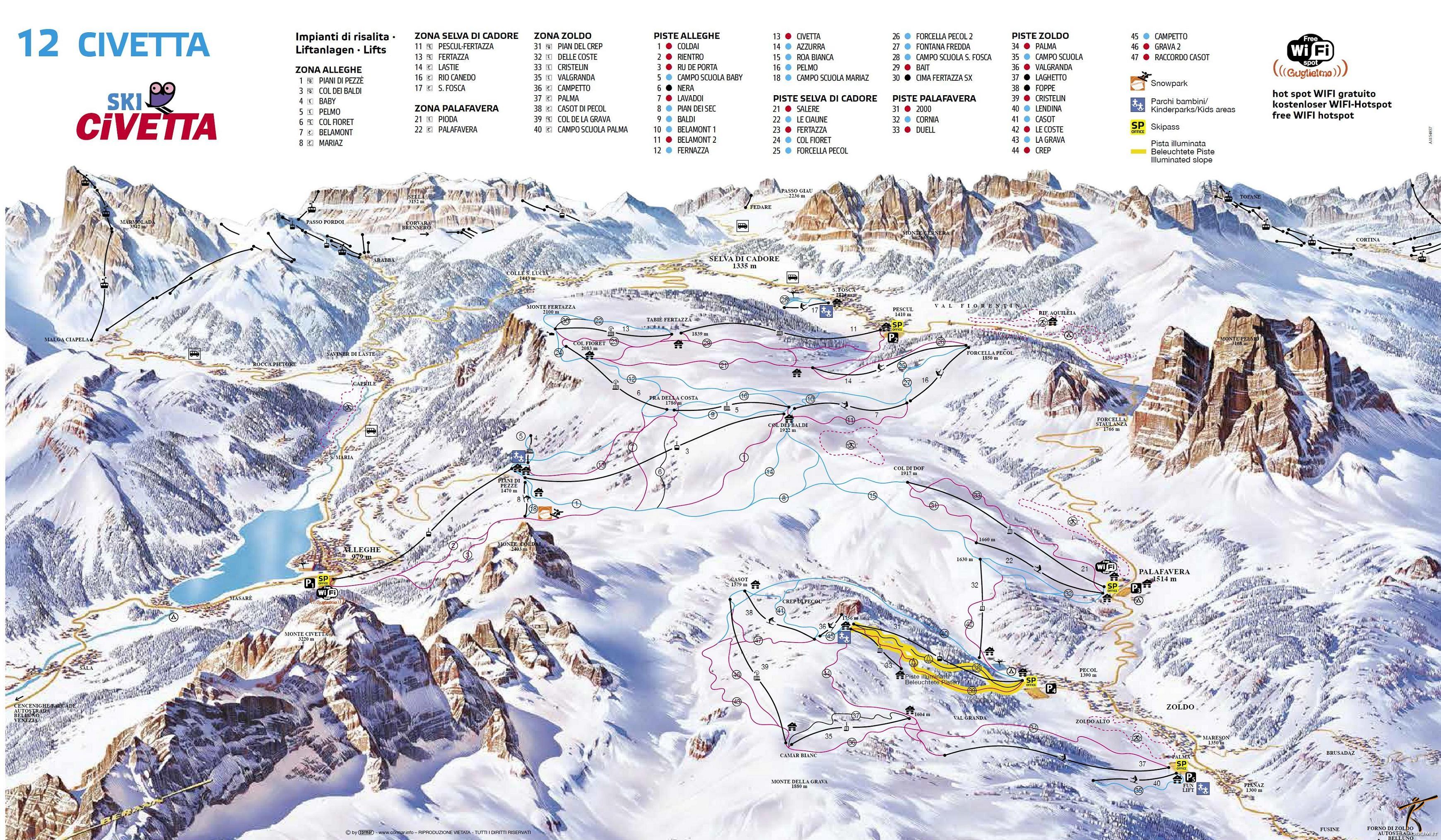 Cartina Dolomiti Superski.Dolomiti Superski Ski Civetta Mappa Cartina Skimaps
