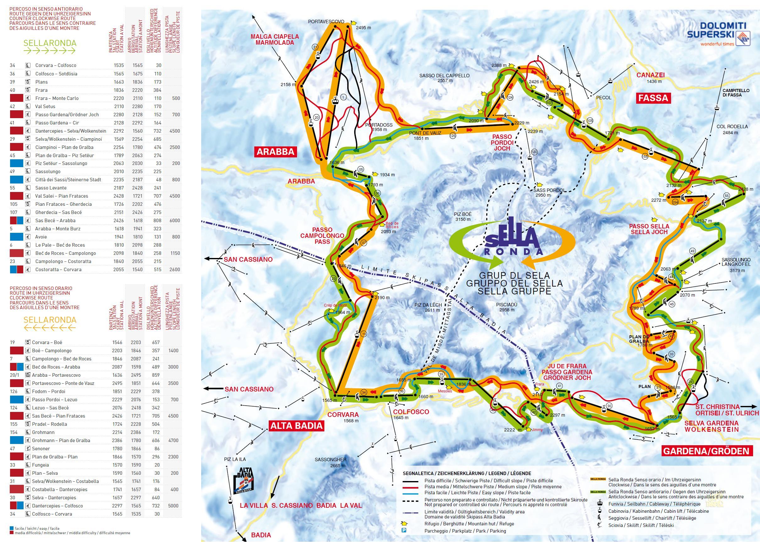 Cartina Dolomiti Superski.Dolomiti Superski Sellaronda Cartina Mappa Skimaps
