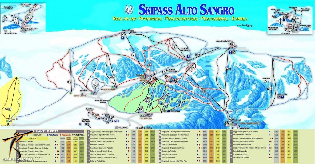 Cartina Geografica Roccaraso.Skimap Con Piste E Impianti Del Comprensorio Roccaraso Rivisondoli