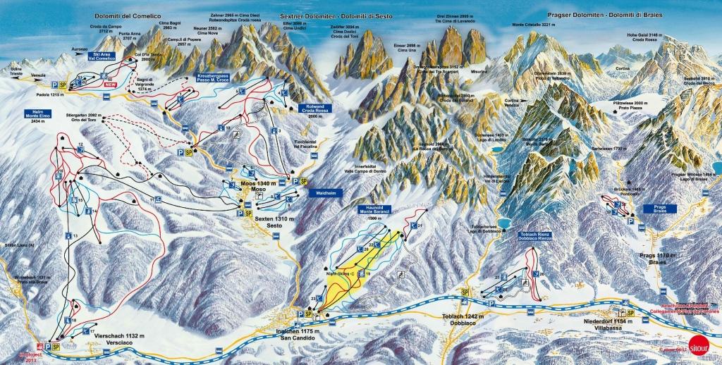 Cartina Geografica Dolomiti.Skimap Con Piste E Impianti Del Comprensorio Tre Cime Dolomiti