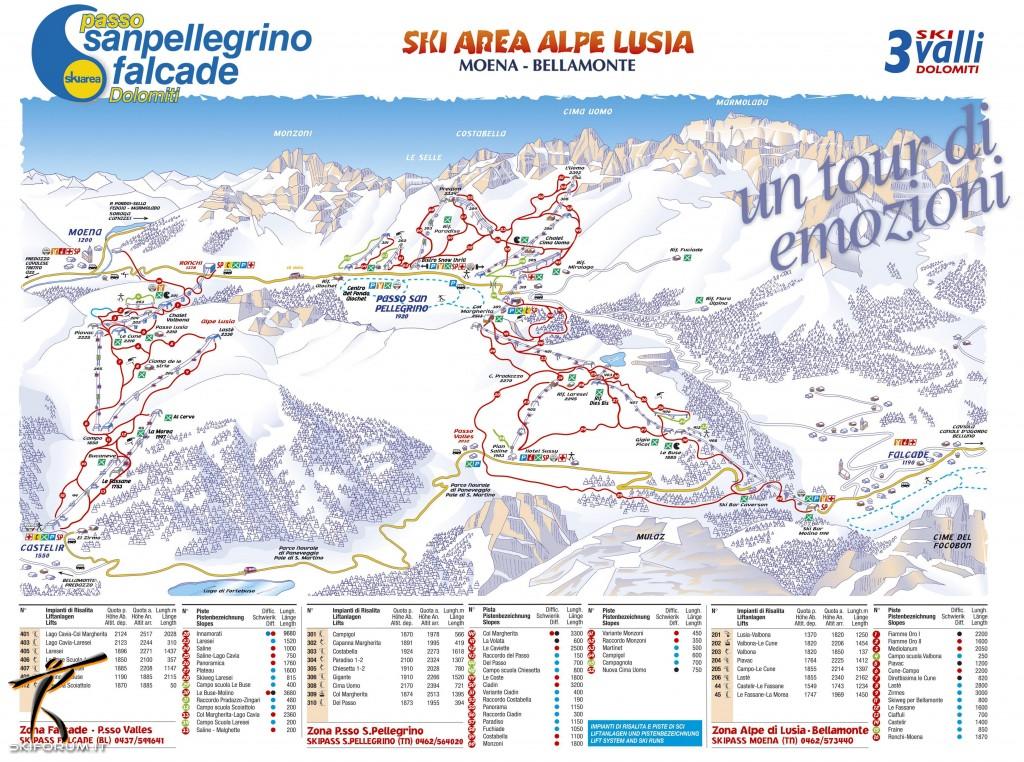 Skimap Con Piste E Impianti Del Comprensorio Falcade Passo San Pellegrino
