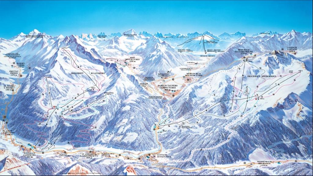 Valle Aurina Cartina Geografica.Skimap Con Piste E Impianti Del Comprensorio Klausberg Valle Aurina